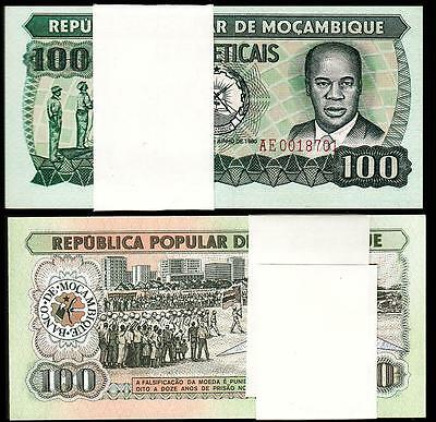 MOZAMBIQUE 100 METICAIS* 1980  UNC 5 PCS CONSECUTIVE LOT P.126a