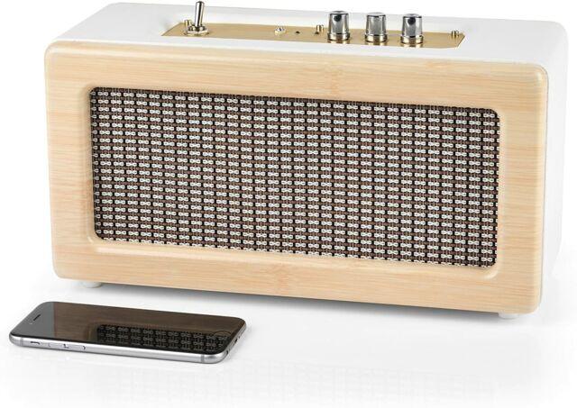 INTEMPO creme Retro Lautsprecher mit Leather Cover Bluetooth-Lautsprecher