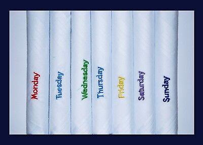 100% Cotone Fazzoletti Da Uomo Giorno Della Settimana Fazzoletti Bianco 7 In (ca. 17.78 Cm) Confezione Regalo-mostra Il Titolo Originale Così Efficacemente Come Una Fata