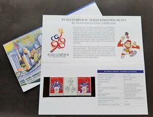 SJ-Malaysia-KL-98-XVI-Commonwealth-Games-1995-Badminton-p-pack-MNH-see-scan
