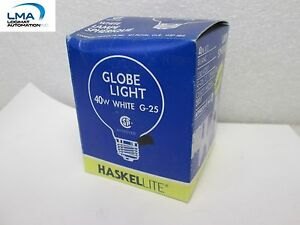 HASKEL-40W-WHITE-GLOBE-BULB-3-034-LIGHT-LAMP-130V-5000HRS-ROUND-G-25-NEW