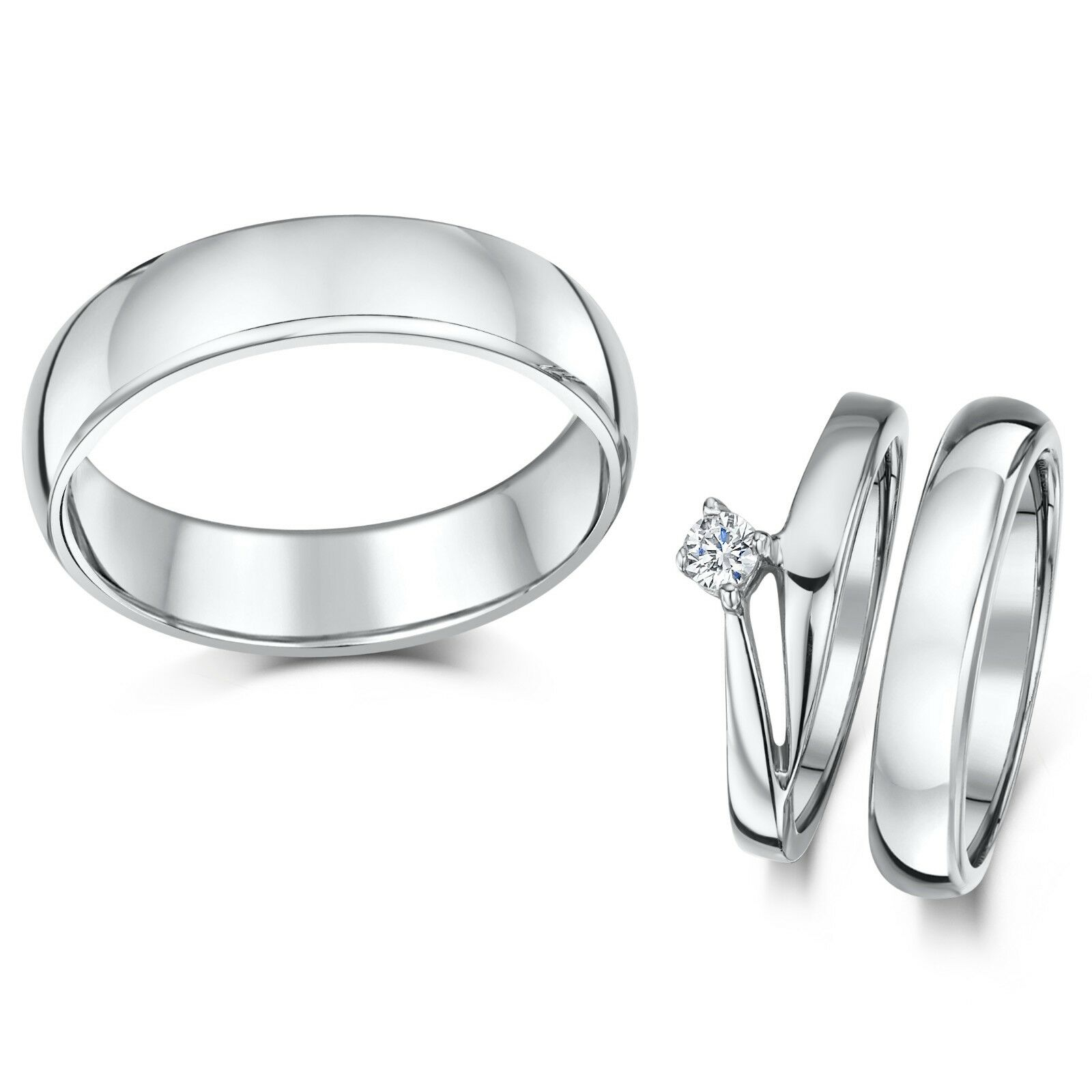 Cobalt Illusion Credver Engagement His & Hers 3&5mm Rings
