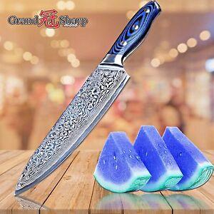 Couteau De Cuisine 8 In (environ 20.32 Cm) Blue Series Damas Japonais En Acier Inoxydable Pro Cuisine-afficher Le Titre D'origine Prix RéDuctions