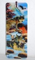 Gift Trenz A Dawn 3-d Bookmark W/tassel Howard Robinson 6 16124 Wolves Snow