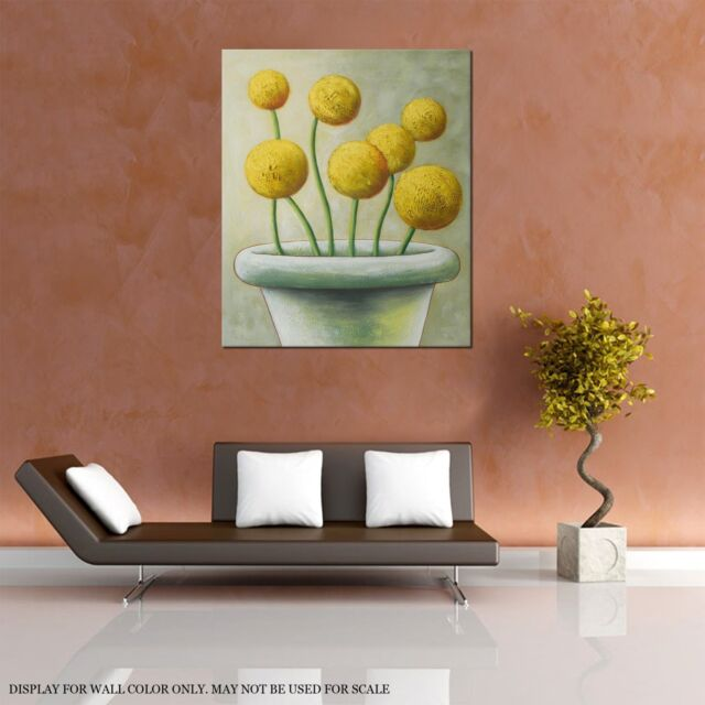 FRAMED LARGE PAINTING WALL ART HOME DECOR, YELLOW POPPIES HAND PAINTED WITH OIL