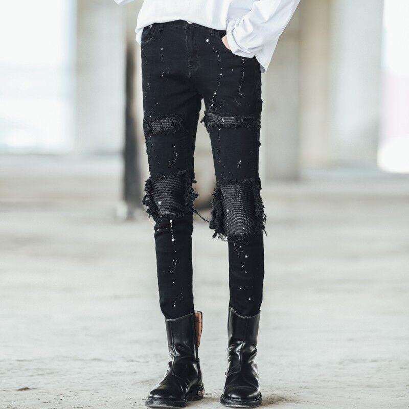 Stylish Mens Hole Ripped Slim Fit Punk Trouser Graffiti Hip Pop Denim Pants size