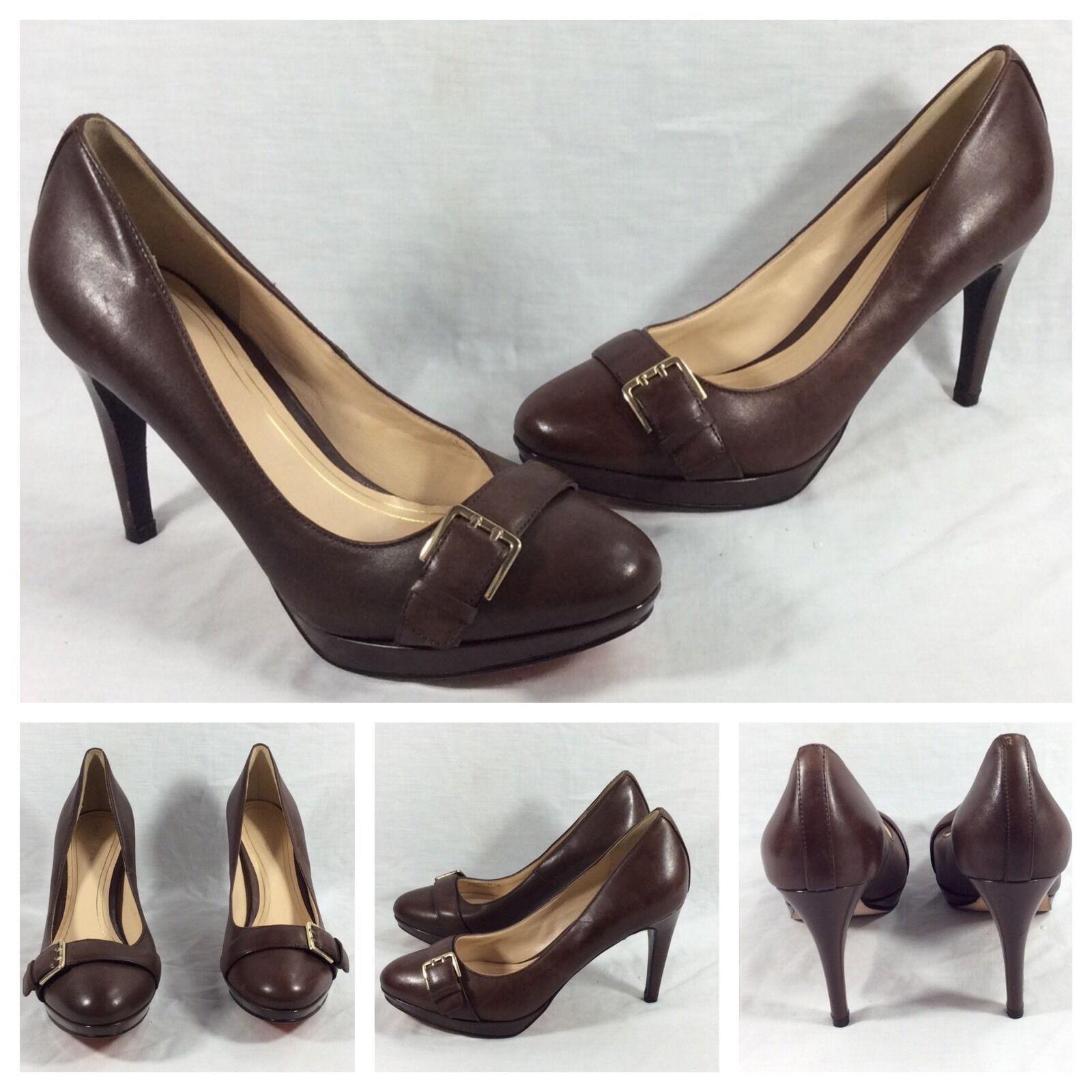 Cole Haan New Sexy Dark Brown Leather Gold Buckle Platform Heels Sz 7.5  328