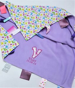 Personalised Taggy blanket Taggie Butterfly Baby Toddler Sensory Comforter  Gift