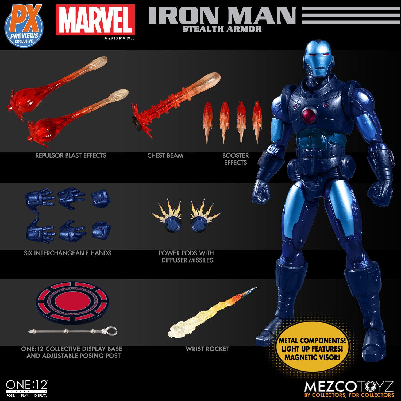Mezco One 12 colectivo vistas previas exclusivo PX Stealth Armadura Iron Man Auténtico