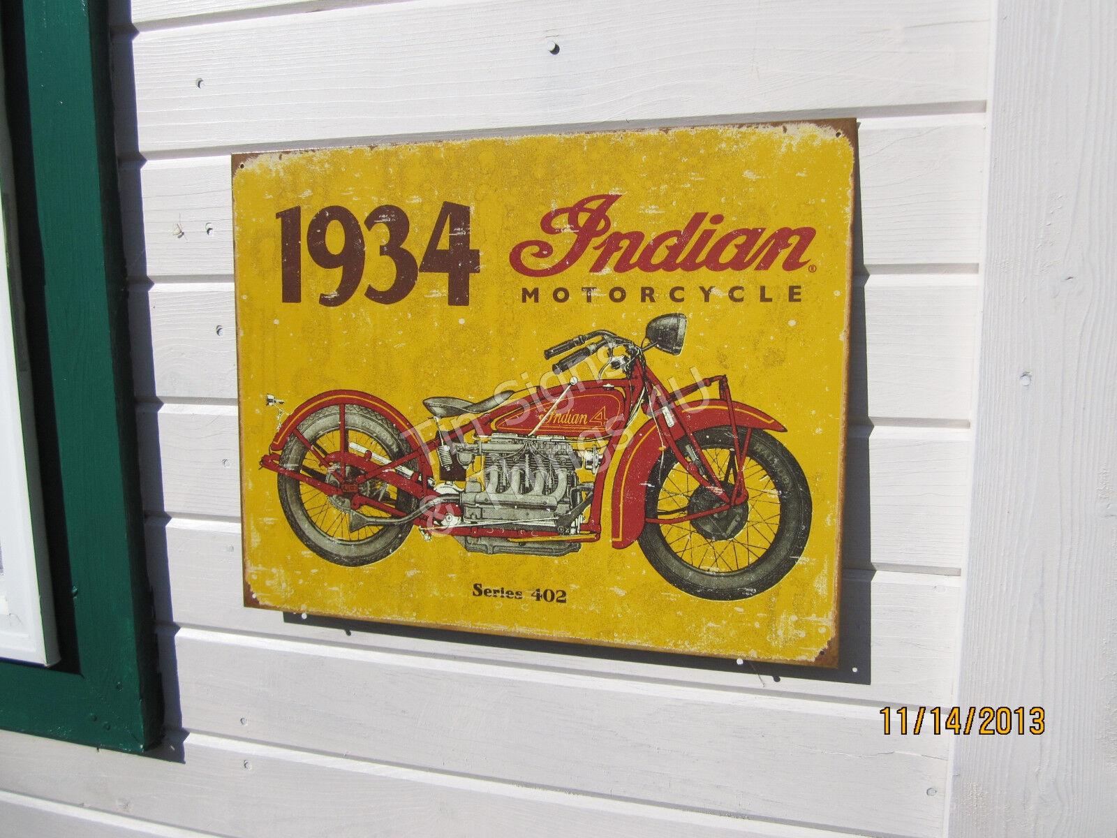 Rustic 1934 Indian Motorcycle Series 402 TIN SIGN vtg garage bar ...