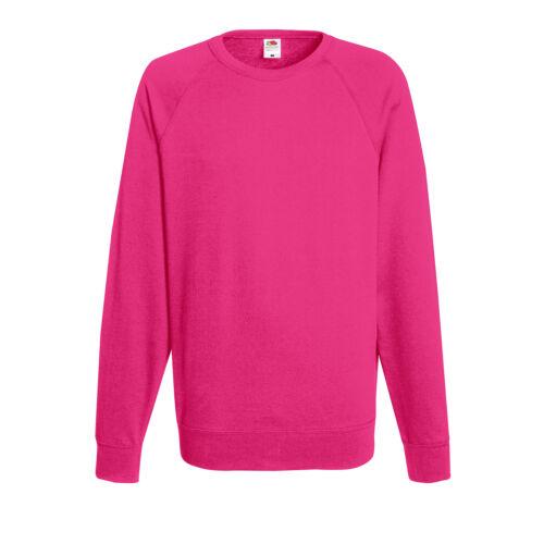 Fruit of the Loom Lightweight Raglan Sweatshirt Mens Full Sleeves Plain Tee Tops
