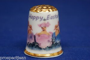 Happy-Easter-From-The-Chicks-Gold-Top-China-Thimble-B-150