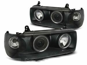 Forlygter-til-Toyota-LAND-CRUISER-FJ-80-90-97-LED-Angel-Eyes-Sort-Gratis-forsend