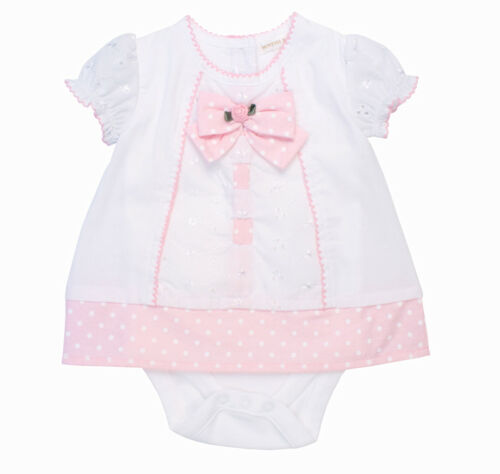Baby Girls Spanish Style White and Pink Bodysuit Dress Outfit