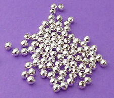 2.5mm Silver Plated Steel Round Seamless Spacer Beads 100pcs.