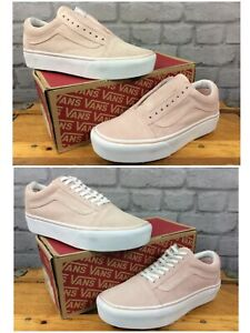 Details zu VANS LADIES OLD SKOOL PLATFORM SEPIA ROSE TRUE WHITE TRAINERS VARIOUS SIZES LG