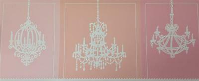 Wallpaper Border Modern White Chandeliers on Blocks of Pink and Peach