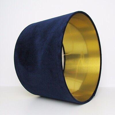Navy Blue Velvet Gold Brass Circular Drum Lampshade Lightshade Floor Lamp Stand