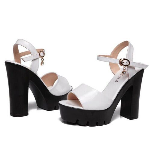 Details about  /Womens Patent Leather Platform Sandals Wedding Party Prom Peep Toe Shoes Strappy