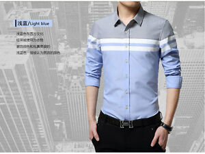 Fashion-Splice-New-Men-039-s-Casual-Shirts-Slim-Fit-Stylish-Long-Sleeve-Dress-Shirts