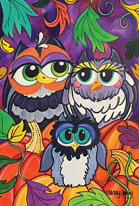 NEW TOLAND GARDEN FLAG THE OWL FAMILY ADORABLE COLORFUL FLAG 12.5 x 18 OWLS
