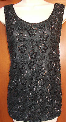 Sequined Beaded Top Formal Evening Shirt Womens S Blk Blouse Candlelight 4s415