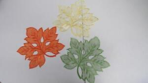 Fall-Thanksgiving-Set-of-3-Decorative-Doilies-Leaf-Leaves-Orange-Gold-Green-NEW