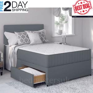 LUXURY-Grey-Bed-with-Memory-Foam-Mattress-amp-Headboard-4FT6-Double-Divan-home