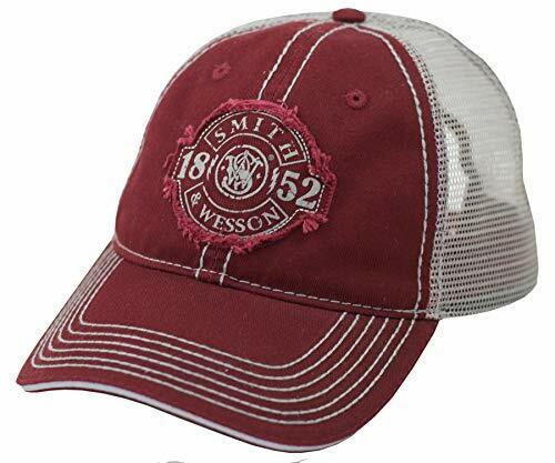 Smith and Wesson Distressed Patch Logo Brick Red Mesh Back Cap