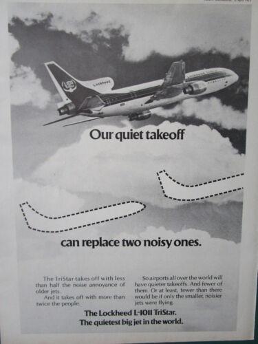 12//1972 PUB LOCKHEED L-1011 TRISTAR AIRLINER AIRPORT NOISE ORIGINAL AD