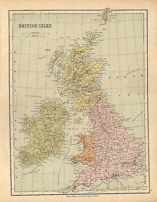 Gran Bretagna Cartina Geografica Politica.Carta Geografica Antica Gran Bretagna Irlanda William Collins 1880 Antique Map Ebay