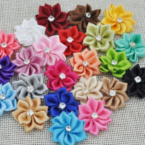 40pcs U pick satin ribbon flowers bows with Appliques Sewing Craft DIY W QMO