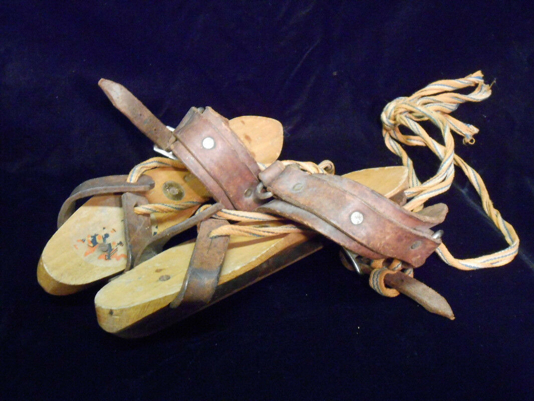 Antique Dutch  Friese Schaats Akkrum Wood Ice S s Leather w  cords  online sales
