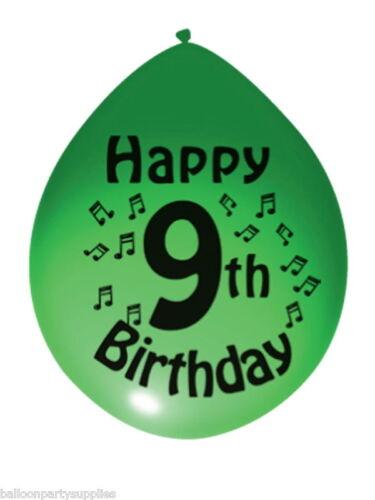 """10 x 11 /""""ballons imprimés/"""" neuvième anniversaire /""""couleurs asstd"""