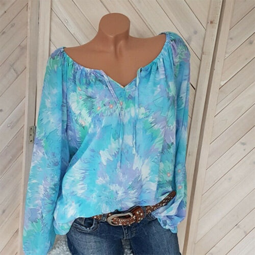 Womens Floral Print Long Sleeve V-Neck Blouse Top Lace Up Loose T-shirt Tee Tops