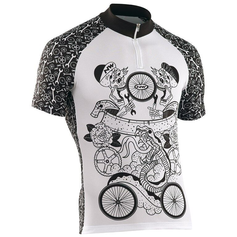Maglia Manica Corta NORTHWAVE TATOO Bianco black JERSEY NORTHWAVE TATOO WHITE BLA