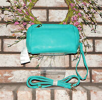 Turquoise Blue Messenger Bag Crossbody Purse Shoulder & Wristlet Strap