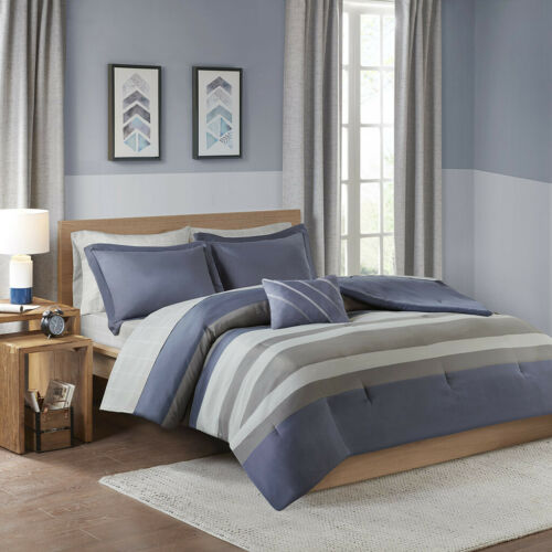 BEAUTIFUL MODERN GREY BLUE CASUAL GEOMETRIC STRIPE SOFT COMFORTER SET & SHEETS