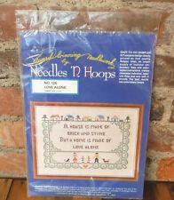 "Vintage Stamped Cross Stitch Sampler Kit ""House is Made of Love"" Needles N Hoops"