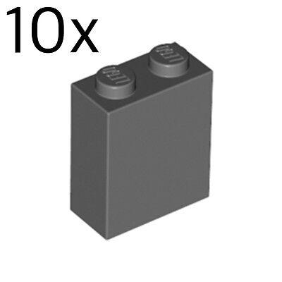 LEGO 10x Dark Bluish Gray Brick 1x2x2 with Inside Stud Holder 3245c 4210978