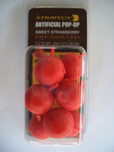 8 Stück neu ovp 10mm Strategy Artificial Pop-Up Sweet Strawberry Pre-Drilled