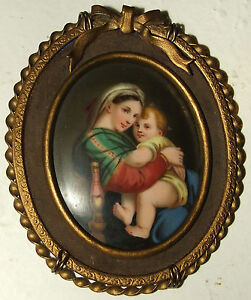 Antique-19th-Century-Victorian-Madonna-Child-KPM-Hand-Painted-Framed-Porcelain