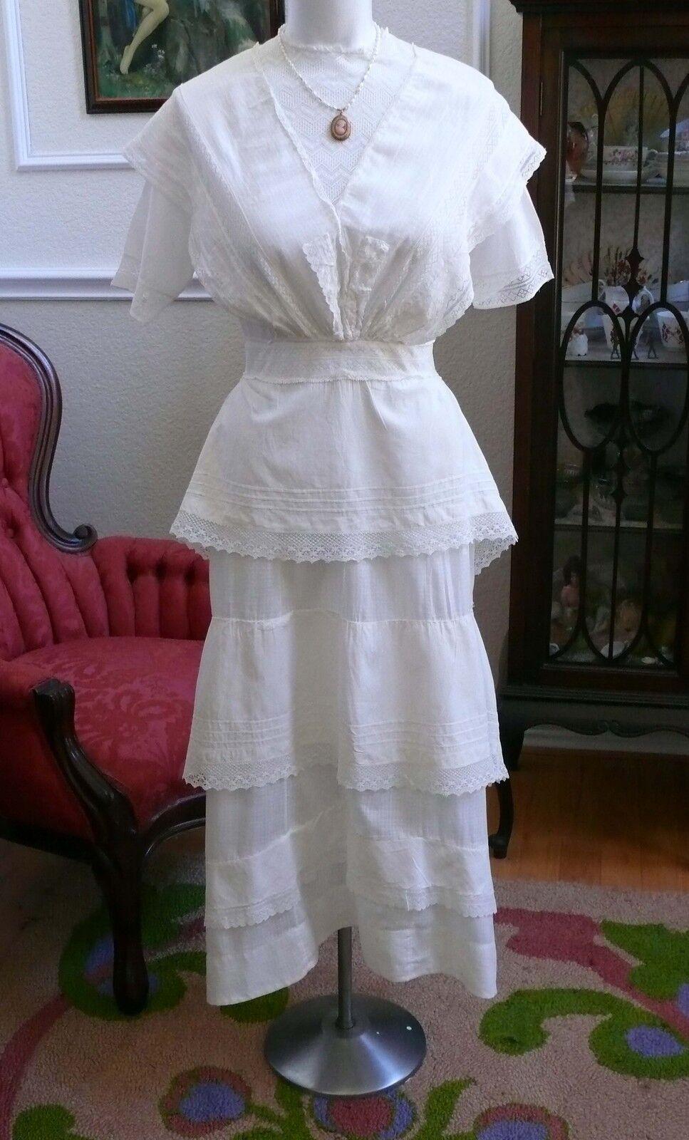 1910`s Edwardian White Dress Titanic Style Unusua… - image 2