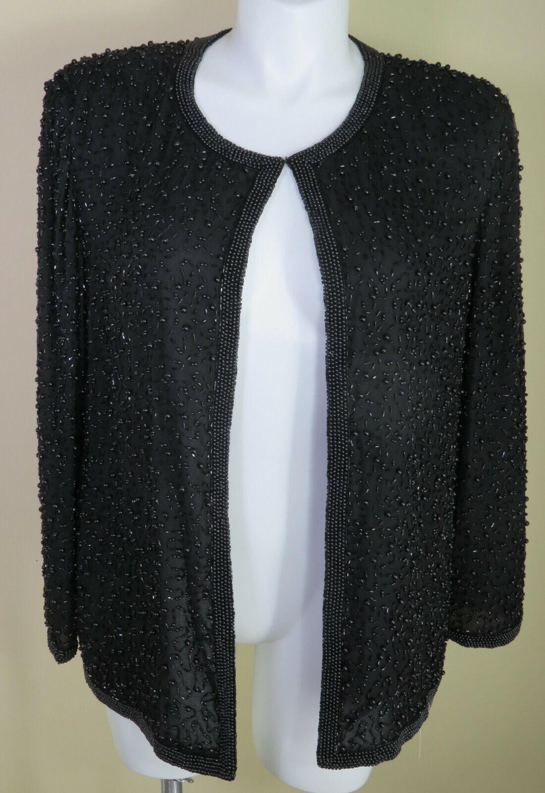 Vtg Cote d' Azur NWT L/Sleeve Black Silk Beaded Lined Jacket Size XL MSRP
