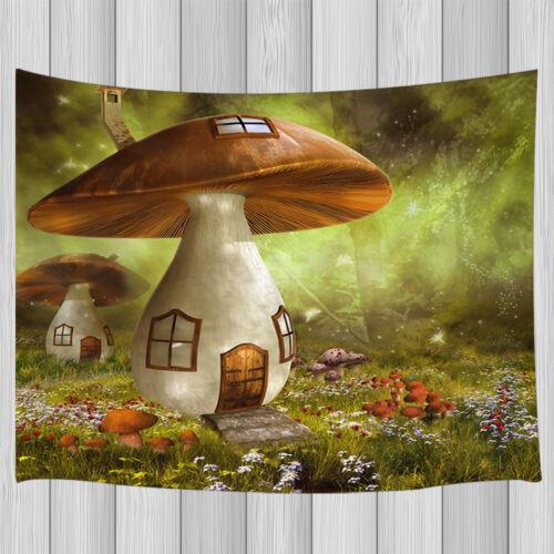 Fantasy Garden Mushroom Cottage Hippie Tapestry Wall Hanging Room Dorm Decor