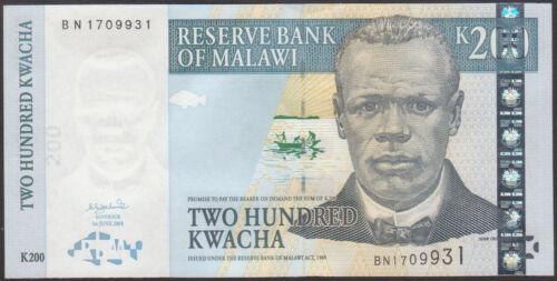 MALAWI P 55a  Uncirculated Banknotes 200 KWACHA  2004   Prefix BH