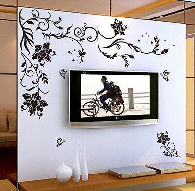 Black Flower Vine TV Backdrop Wall Stickers Room Mural Decals Home Decor Art