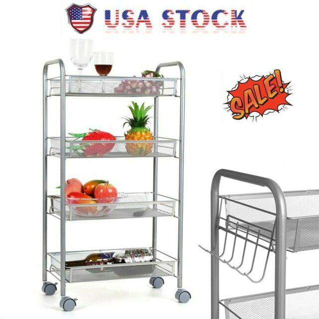 Homfa 3-Tier Mesh Wire Rolling Cart Multifunction Utility Cart Kitchen Storage C