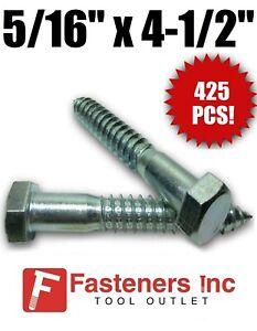 "Lag Screws Hex Head Stainless Steel 5//16/"" x 4-1//2/"" Qty 5"