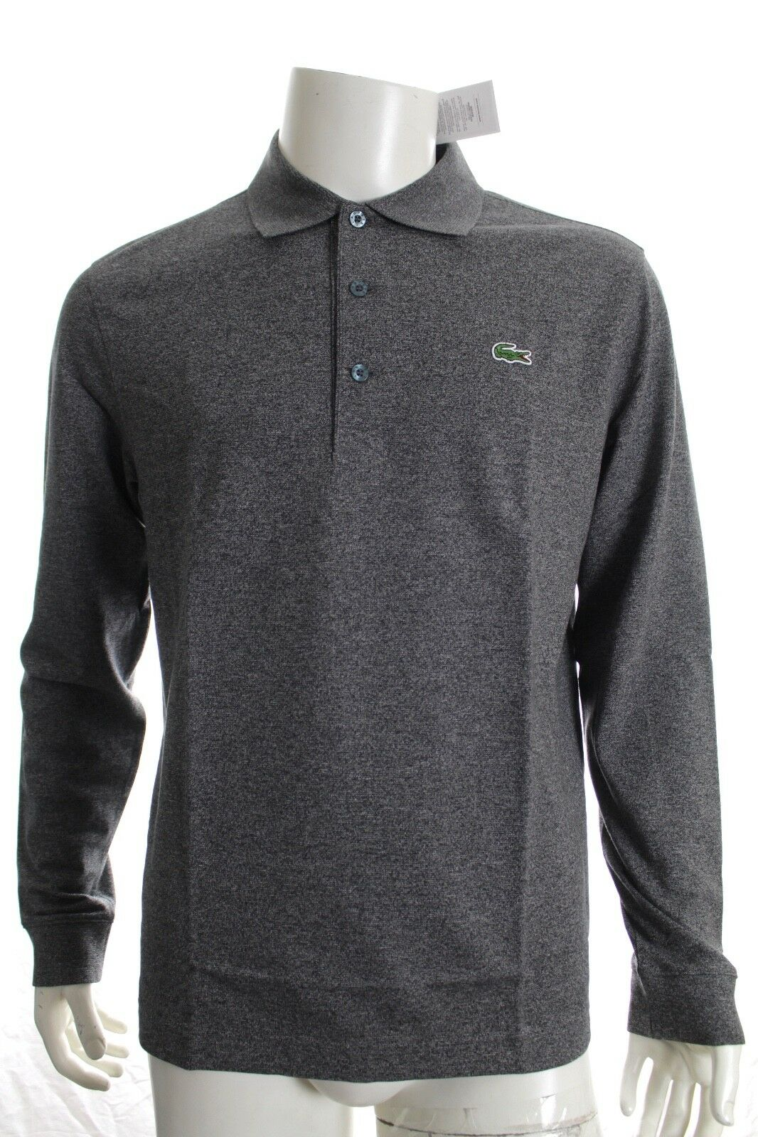 164e0a791 Lacoste Yh9521 Grey Slim Fit Polo Cotton Shirt Long Sleeve Size 5 L ...